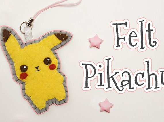 Felt Pikachu Pokemon phone hanger